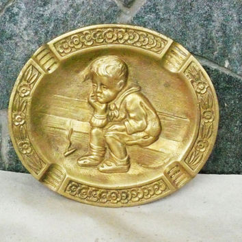 Collectibles Ashtray,Antique Art Nouveau Brass Ashtray with Boy, Old Artisan Designed Solid Brass Ashtray,Marked Brass Ashtray, Collector's!