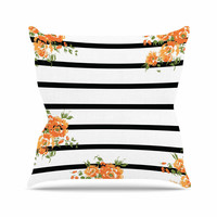 "NL Designs ""Orange Floral Stripes"" Black Floral Throw Pillow"