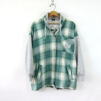Vintage green Plaid Flannel hoodie / Grunge Shirt jacket / Thick cotton button up shirt coat