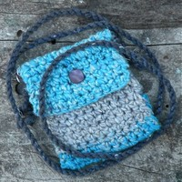 "Handmade Crocheted Spirit Pouch created with Love - ""Turquoise Sand"""