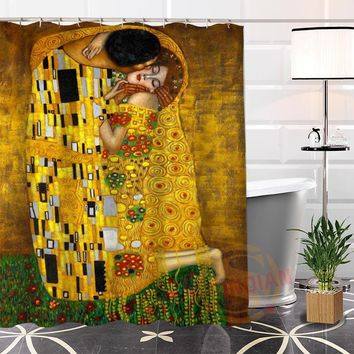 Custom Unique Klimt Famous Paintings Shower Curtain Eco-friendly Fabric Modern bathroom Curtains for yourself