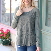 Lay the Lace Overlay Long Sleeve {Olive}