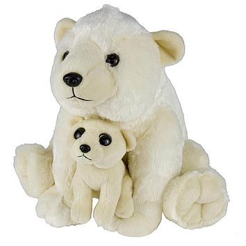 11 and 5 Inch Stuffed Polar Bear Mom and Baby Plush Floppy Zoo Animal Family Collection