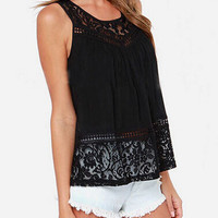 Sleeveless Crochet Lace Embroidered Chiffon Top