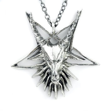 Sabbatic Baphomet Goat Head Necklace Inverted Pentagram Occult