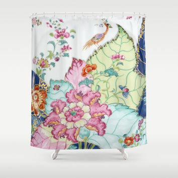 Damask antique floral porcelain china chinoiserie plate of flowers and crane bird vintage photo Shower Curtain by IGallery