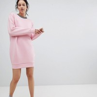ASOS DESIGN Scuba Cocoon Sweat Dress With Rib Trim at asos.com
