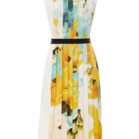 Sleeveless Twill Dress With Printed Pleated Inset by Bibhu Mohapatra for Preorder on Moda Operandi