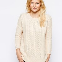 Warehouse Slouchy Cable Zip Back Sweater - Cream