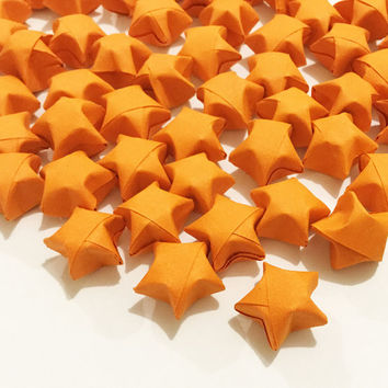 Origami Lucky Stars | Plain Orange Paper Stars | Handmade Wishing Star | Craft Party Wedding Thanksgiving Christmas Decoration Confetti