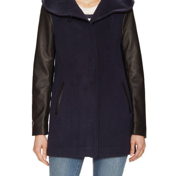 Soia & Kyo Women's Nolya Wool Coat with Leather Sleeves - Dark Blue/Navy