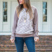 Just In Lace Top, Mocha/Ivory