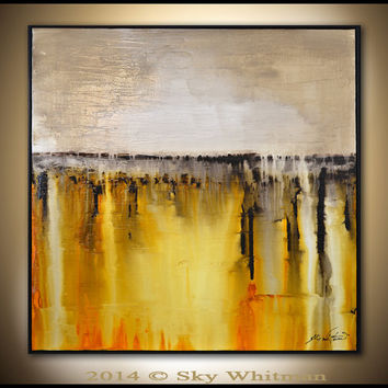 Original Abstract Framed Painting Large Modern Contemporary Textured Square Oil Painting Amber and Cream Abstract Art High Gloss 37x37