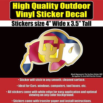 CU Buffalos CO Flag Vinyl Car Window Laptop Bumper Sticker Decal