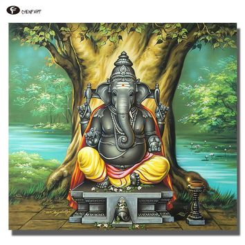 CHENFART  Oil Painting Ganesha Buddha Wall Art a Perfect Painting for a new Home office or even as a Gift Canvas Painting