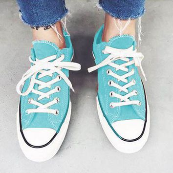 """Converse"" Stylish Unisex Casual Canvas Flats Sneakers Sport Shoes Light Blue I"