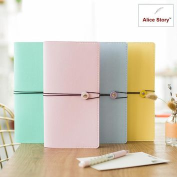 Cute faux leather traveler's notebook Macaron 4 color Diary To do list Schedule stationery planner journal agenda