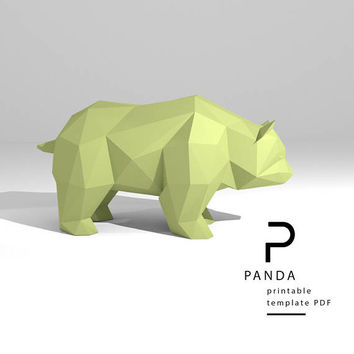 Printable DIY template (PDF).  Panda low poly paper model. 3D paper trophy. Origami.