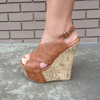 Tan Cork Wedge
