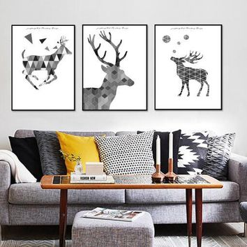 Scandinavian Modern Geometric Abstract Elk Living Room Decorative Painting 3 Pieces Frameless Canvas Poster Christmas Home Decor