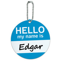 Edgar Hello My Name Is Round ID Card Luggage Tag