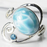 Larimar Ring - Larimar Blue Topaz Ring - Swirl Ring - Unique Larimar Blue Topaz Jewelry - Winter Blue, Aqua Blue, Ocean Inspired