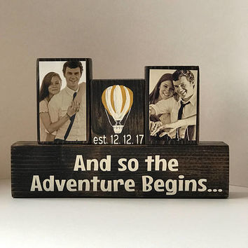 And so the adventure begins, hot air balloon, wedding gift, husband christmas gift, bridal shower gift, anniversary gift for men, engagement