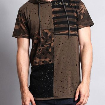 Star Print Block Camo Splatter Hooded T-Shirt TS7029 - H18D