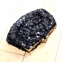 Small Black Sequin Clutch (Vintage)
