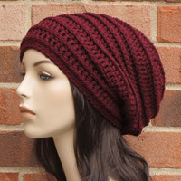 Crochet Slouchy Hat - Wine Red Slouchy Beanie - Womens Ribbed Beanie Hat - Winter Slouchy Hat  // THE HARLOW //