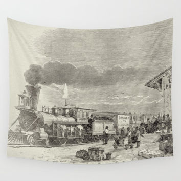 Union Pacific Train  Wall Tapestry by Theresa Campbell D'August Art