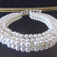 Vintage Multi Strand Pearl Necklace Wedding Bridal Jewelry Fashion Accessories For Her