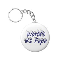 World's #1 Papa 3D Key Chains, Blue Keychain