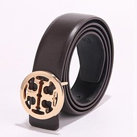 Tory Burch Fashion Woman Men Circular Smooth Buckle Leather Belt Coffee
