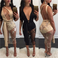 2017 Sexy Dress Club Wear Backless Bodycon Black Mesh Dresses for Women Fashion Sequined Embroidery Split Party Dress Vestidos