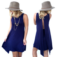Mia Jersey Shift Dress In Navy Blue