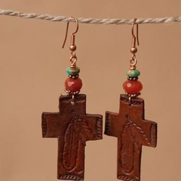 Tooled Cross Earrings