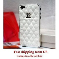 White and Silver Leather designer inspired Iphone 4 Case: Cell Phones & Accessories