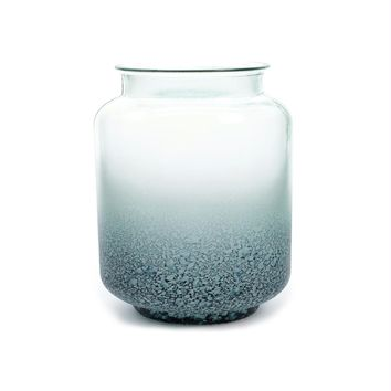 """10"""" Seaside Treasures Navy and Pastel Blue Frosted Ombre Decorative Glass Jar Vase"""