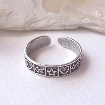 Toe Ring 925 Sterling Silver Oxidized