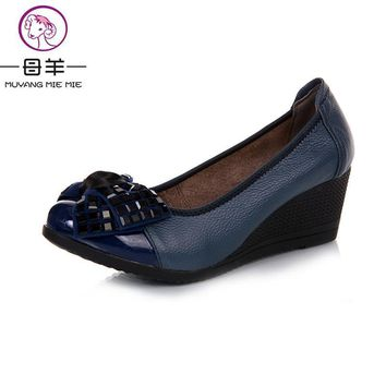 2017 new fashion high heels women pumps,women genuine leather wedge shoes woman single