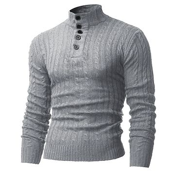 2017 Autumn Winter Mens Sweaters Warm Turtleneck Casual Slim Knitting Male Jumper Long Sleeve Button Placket Men Pullovers 2XL