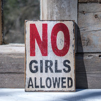 no girls allowed sign boy's room sign treehouse humorous sign for boys gift for only boy  black white rustic boy sign playroom garage