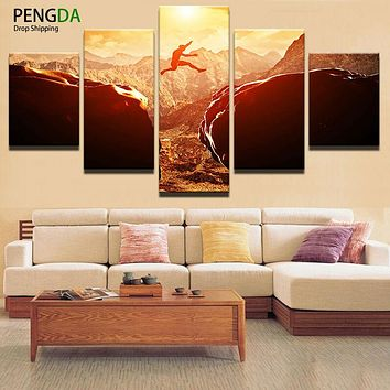 Mordern Canvas Painting Frame Art Poster Wall Modular Picture 5 Pcs Sunset Landscape Home Decor Print On Canvas For Living Room