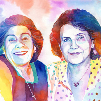 WOMEN PORTRAIT CUSTOM gift - Mother and aunt watercolor special gift - In memory of aunt - Loss of aunt - Gift for cousins