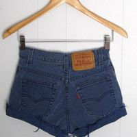 Vintage Levi's High Waisted Cut Off Denim Shorts Jean Faded Purple Cuffed 25""
