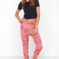 Billabong Turn It Loose Coral Red Floral Print Pants