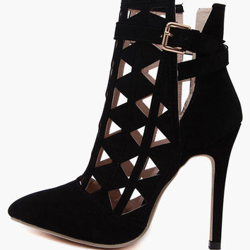 Black Cut Out High Heel Shoes