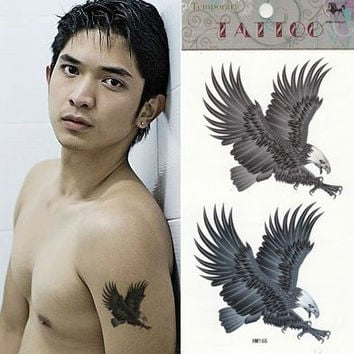 2 pcs eagle tattoo stickers in set water proof arm fake tattoo art for men , cool men body art eagle fake tattoo