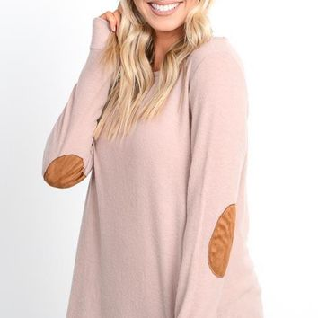 Blush Elbow Patch Top
